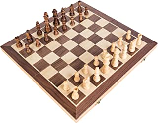 Wooden Chess Set Folding Chessboard Wooden Lattice Magnetic Pieces Wood Chess Game Board Set for Kids Children Gift