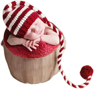 Vemonllas Fashion Newborn Boy Girl Baby Outfits Photography Props Christmas Long Tail Hat Headdress Red
