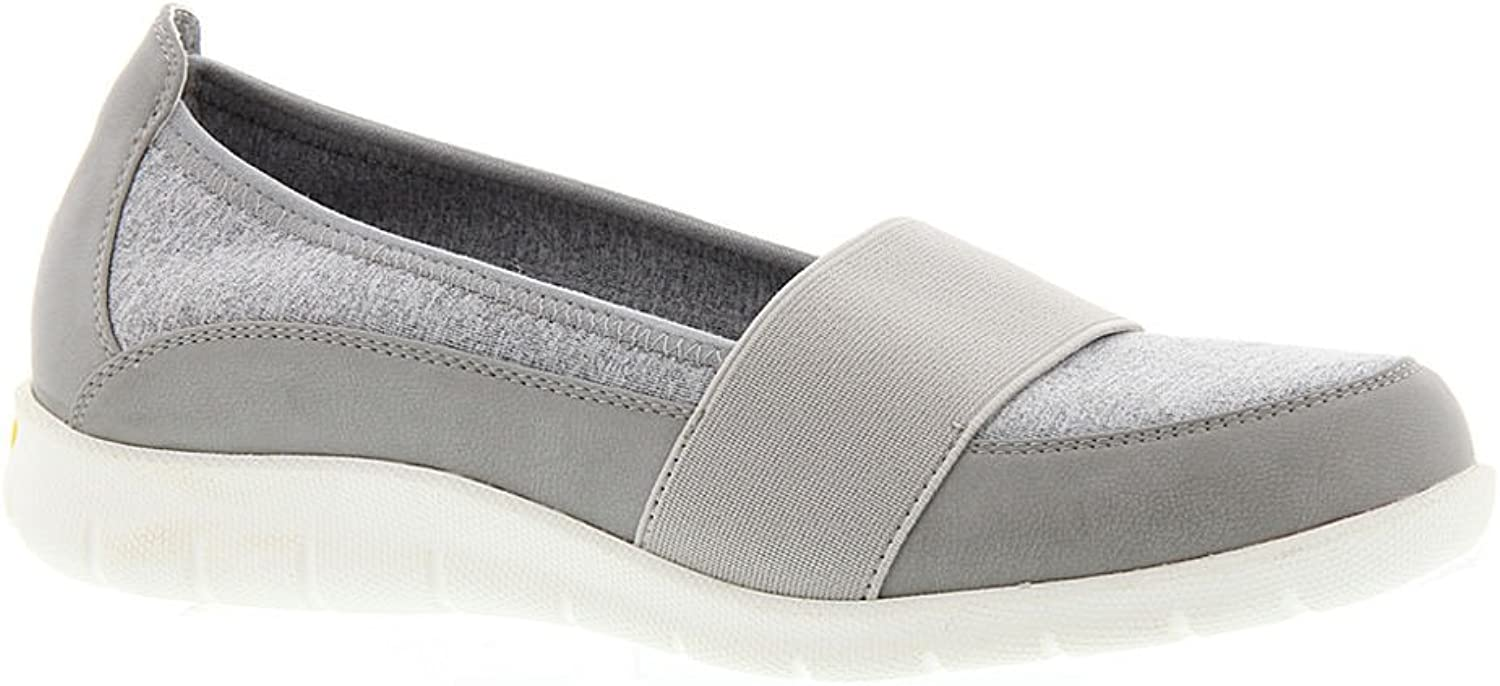 Beacon Womens Surprise Fabric Low Top Slip On Walking shoes, Grey, Size 11.0
