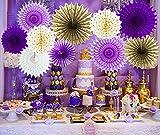 Qian's Party - Decoración para baby shower, color morado y dorado y dorado, diseño de flores para decoración de fiesta de cumpleaños y decoración de fiesta de cumpleaños y foto fondo