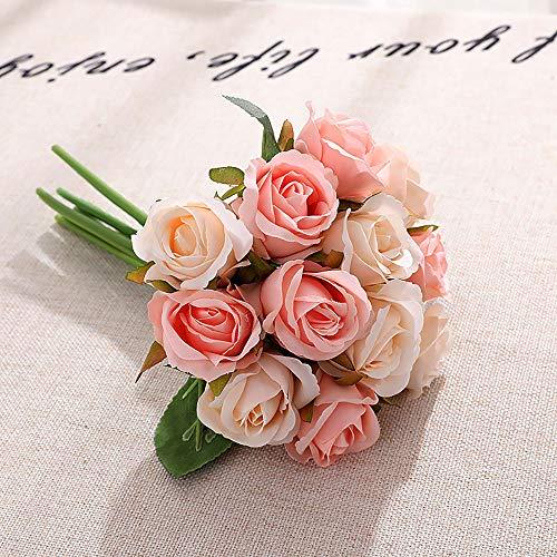 12pcs Artificial Roses Single Stem Fake Silk Flower Arrangement Bouquet Real Touch for Home Party Wedding Decoration