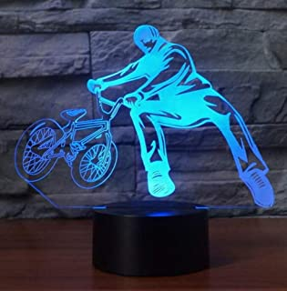 Night Light Wall Lamp Led Lamp 7 Colors Change Bedside 3D Table Lamp Bicycle Limit Movement Nightlights Decor BMX Trickster Led Bedroom Sleeping Light Ing Gifts for Kitchen Bedroom Living Room, QIXI