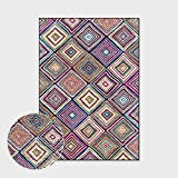 Alfombras Salon Grandes,Boho Large Size Non Slip Area Rugs Moroccan Rhombus Stripe Soft Ethnic Carpet Outdoor Picnic Mat Art Home Decor For Living Dining Room Bedroom Kitchen,120X160Cm(47.2X62.9In)