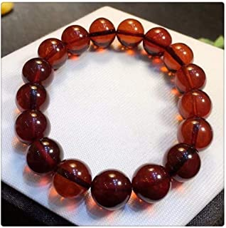 أساور بخرز كهرمان مستديرة بلون الدم الطبيعي للرجال والنساء أزياء جوهرة ريكي AAAAA (اللون : -)