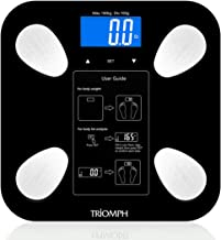 Triomph Body Fat Scale Digital Bathroom Scale Body Composition Analyzer with Backlit LCD for Body Weight Fat Water Muscle BMI Bone Mass and Calorie 10 Users 400 lbs Fat Loss Monitor Black
