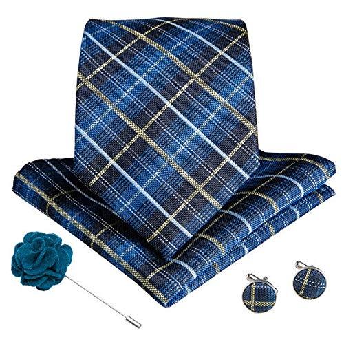 YTGUEVKDH 15 Styles Blue Teal Men's Tie Hanky Cufflinks Brooch Set Silk Men Necktie 8cm Wide Ties Compatible with Men Business Formal Wedding (Color : J)