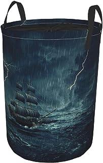 ZOMOY Grand Organiser Paniers pour Vêtements Stockage,Stormy Rainy Weather Waves Pirate Vintage Ship Voile Peinture à l'hu...