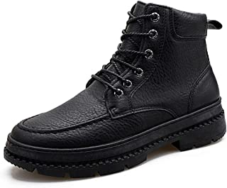 2019 Mens New Lace-up Flats Mens Ankle Combat Boots High Top for Men Classic Winter Motorcycle Shoes Lace up PU Leather Vegan Anti-Slip Round Toe Fleece Lined Keep Warm Casual