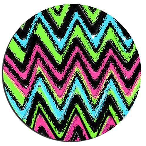 Gaming Mouse Pad Rainbow Chevron Background Office Desktop Rubber Non-Slip Round Mouse Mat 7.87'x7.87'