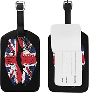 NgkagluxCap Luggage Tag Great Britain Flag Lipstick On Grunge Travel Tag Name Card Holder for Baggage Suitcase Bag Set Of 2