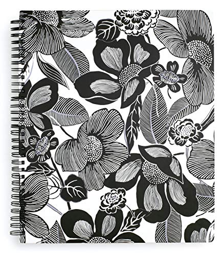 Vera Bradley Black Floral Large Spiral Notebook, 11' x ' with Pocket and 160 Lined Pages, Bedford Blooms White
