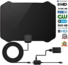 TV Antenna Indoor Digital Amplified HDTV Antennas Receivers 70-100 Miles Range with Detachable Amplifier Signal Booster for Free Local Channels 4K HD 1080P VHF UHF All TV's - 16.5ft Coaxial Cable/Powe