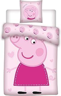 AYMAX S.P.R.L. Peppa Pig - Juego de cama infantil (funda nórdica de 140 x 200 cm y funda de almohada de 63 x 63 cm), color rosa