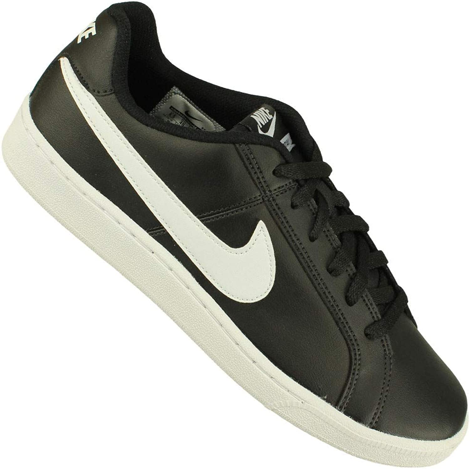 NIKE Mens Court Royal Black White Leather Trainers 6.5 UK