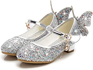 通用 HB Girls Princess Ballet Shoes Plat Glitter Low Heel 3cm Dance Party Shoes