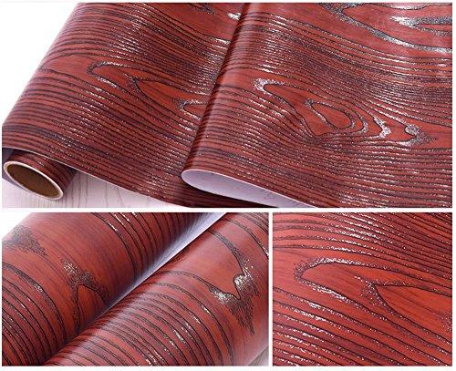 Revêtement en vinyle autocollant imitation grain de bois pour étagères de cuisine, comptoir, armoires, tiroirs, meubles, mur (59,9 cm de large x 293,4 cm de long, bois de santal rouge)