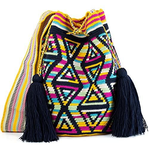 Wayuu Mochila-Taschen, gehäkelt, gewebt, handgefertigt, authentisch, kolumbianische Boho-Taschen, bunt, (Tolu), Large