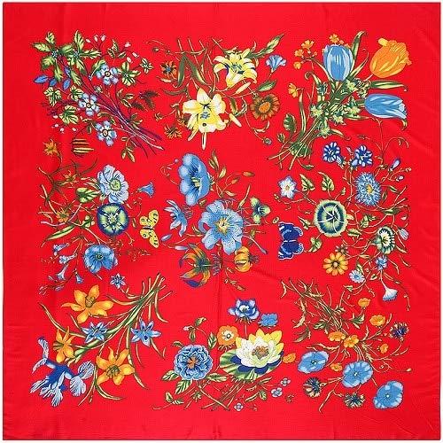 TYJYTM 100% Pañuelo de Seda Mujer Vida Flores Pañuelos de Seda Pañuelos Cuadrados Cabeza Pañuelo Envolturas Grandes Mujer Hijabs Grandes