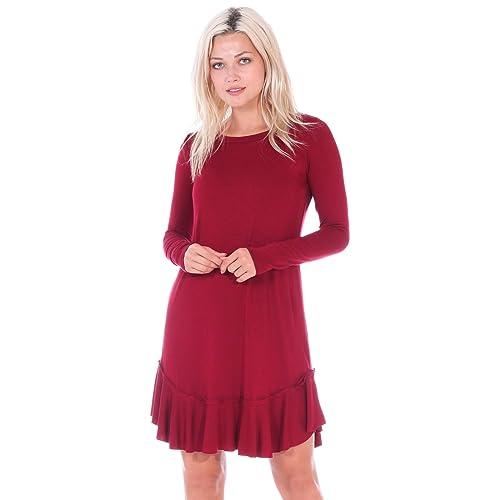 4af5dc3f5f Popana Women s Casual Long Sleeve Knee Length Ruffle Hem Midi Dress Made in  USA