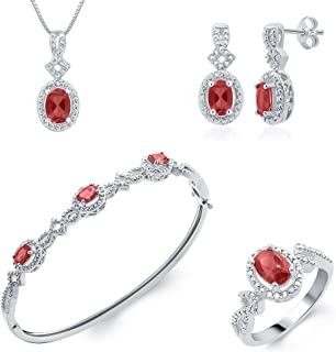 Trendy Ruby and Diamond Accent 4 Piece Set Consists of Pendant Necklace, Earrings, Bangle & Ring for Teen Girls Her Daily ...
