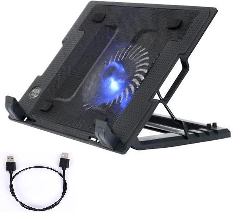Base de Refrigeración para Portátil,Soporte portatil ventilador ,Ventilador ordenador,Soporte Ajustable para Portátil de Aluminio con Ventilador, hasta 17.3 Pulgadas con 2 Puertos USB y Luz LED Azul