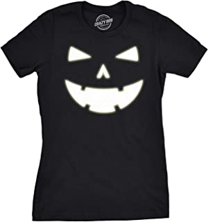 Womens Happy Tooth Glow in The Dark Pumpkin T Shirt Face Halloween Tee for Ladies