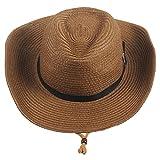Sidiou Group Uomo Cappelli da Cowboy Donne Cappa da Spiaggia Unisex Fedora Trilby Cappello Hat Hat Gambler con Cinturino (Marrone)