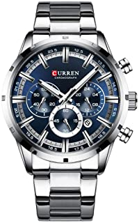 Mens Watch Sport Quartz Chronograph Wristwatches with Luminous Hands Fashion Stainless Steel Clock Date