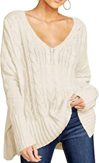 Ivay Womens Plus Size V Neck Knit Sweater Pullover Lightweight Long Sleeve Plain Loose Top