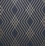 Fine Décor FD42605 - Papel pintado, diseño de enrejado, color azul marino y dorado