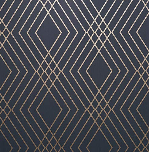 Fine Décor FD42605 Shard Trellis Navy/Gold Wallpaper