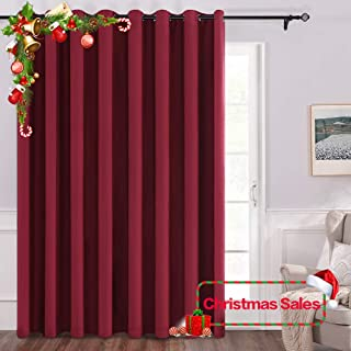 MIULEE 100% Blackout Vertical Blinds for Sliding Glass Door Solid Grommet Christmas Window Curtain 1 Panel for Space Shared Room Divider W 100 x L 84 inches Red