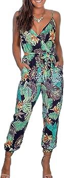 DUTISON Women's V Neck Spaghetti Strap Floral Print Jumpsuit