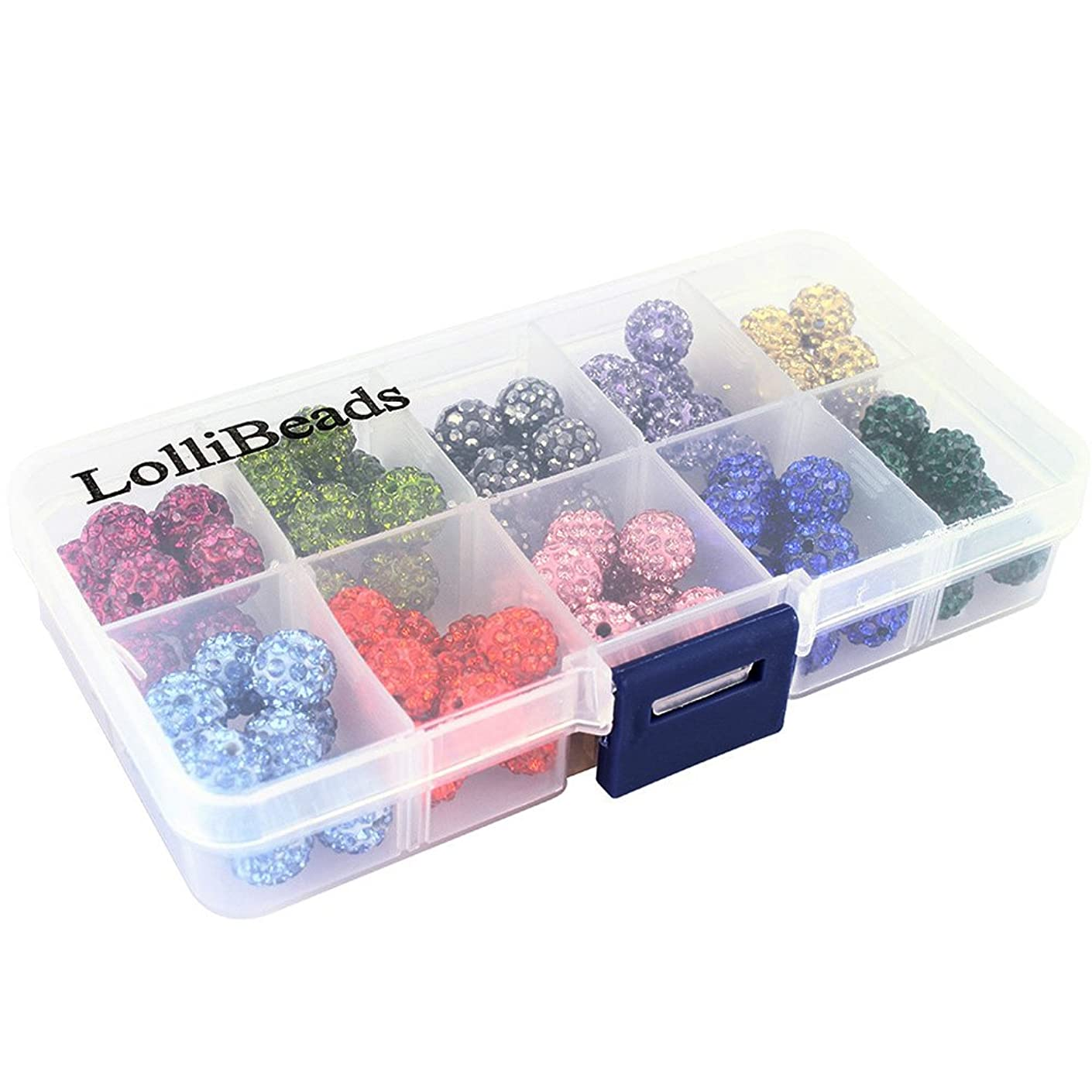 LolliBeads-100pcs 10 Color Mix Lot Top Quality Crystal Rhinestones Pave Clay Spacer Ball Beads (10mm Box Set)