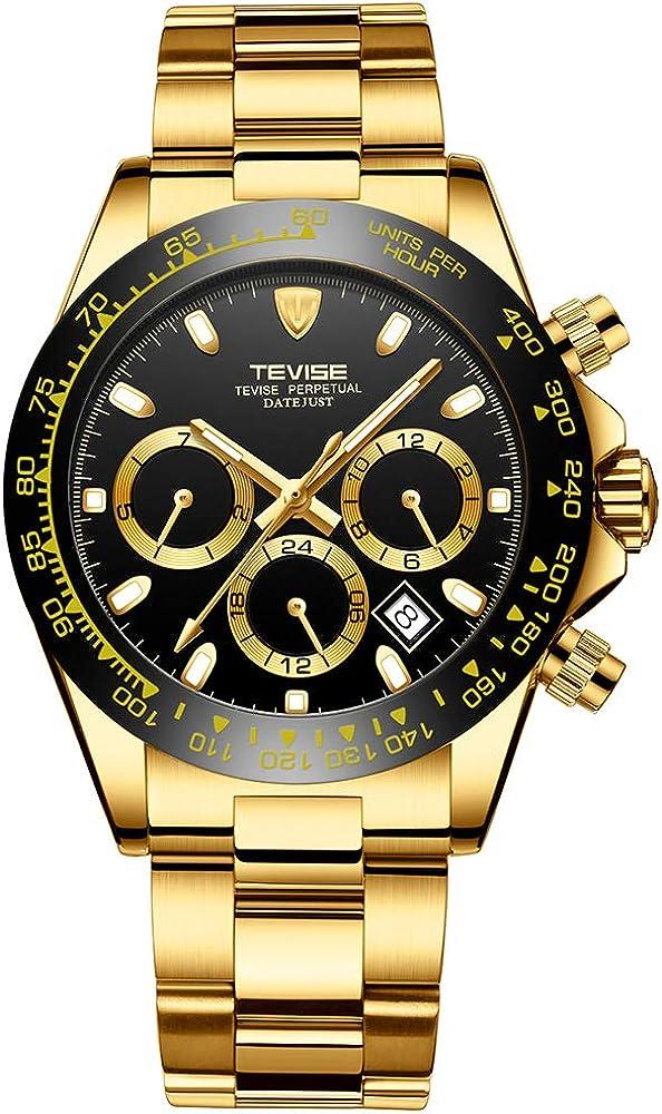 Fesjoy Hombres de negocios Reloj mecánico automático Hora Semana Mes Mes Calendario Moda Casual Luminoso Manos Correa de acero inoxidable Vida Reloj masculino impermeable,TEVISE Reloj,Reloj mecánico a