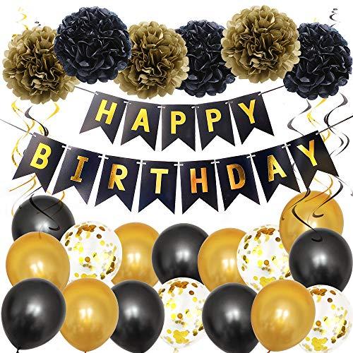Decoraciones para cumpleaños, guirnalda banderines «Happy Birthday», globos de látex, cinta; accesorios fiesta, unisex Decoración de cumpleaños de oro negro.