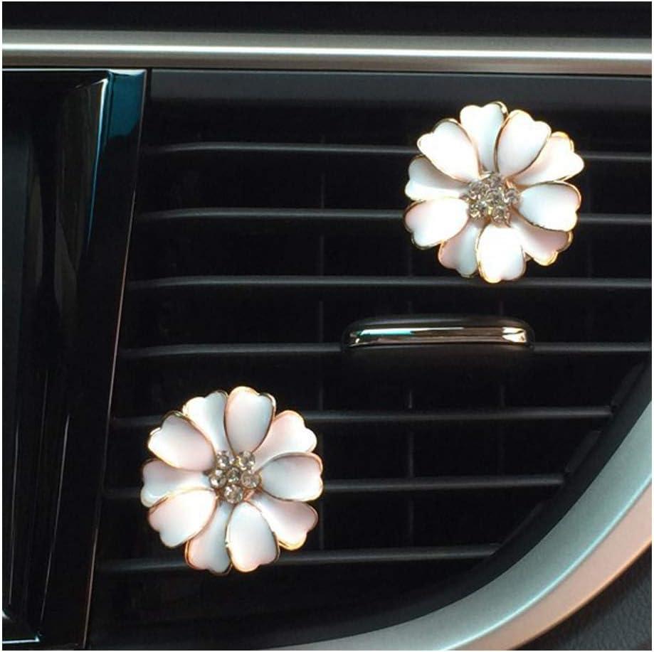 2 PACK Daisy Flowers Car Accessories Cute Car Air Freshener Bling Diamond Air Vent Clips Automotive Interior Trim Car Decorations Gift (White)