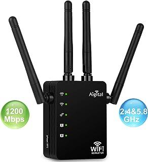 Repetidor de WiFi 1200Mbps Amplificador Señal de WiFi Doble Banda High Speed Extensor de Red WiFi con 4 Antenas Externas en Largo Alcance 2 Puerto LAN, WPS, Funciona con Cualquier Router Modem