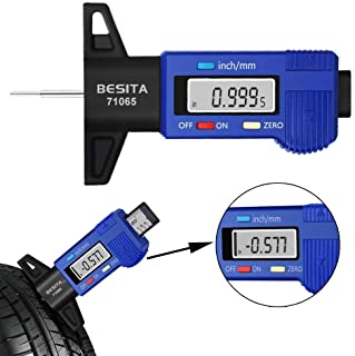 "BESITA Digital Tire Tread Depth Gauge - Digital Tire Gauge Meter Measurer LCD Display Tread Checker Tire Tester for Cars Trucks Vans SUV, Inch/Metric,0-1""/25.4 mm (with Battery)"