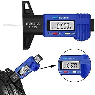 BESITA Digital Tire Tread Depth Gauge - Digital Tire Gauge Meter Measurer LCD Display Tread Checker Tire Tester for Cars Trucks Vans SUV, Inch/Metric,0-1