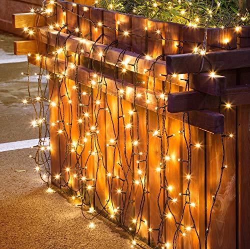 Ibello Guirnaldas Luces Exterior Solar blanco cálido 12 M 100 LED Guirnalda Luminosa IP44 8 modos Impermeable Cadena de Luces Decoración para exterior e interior