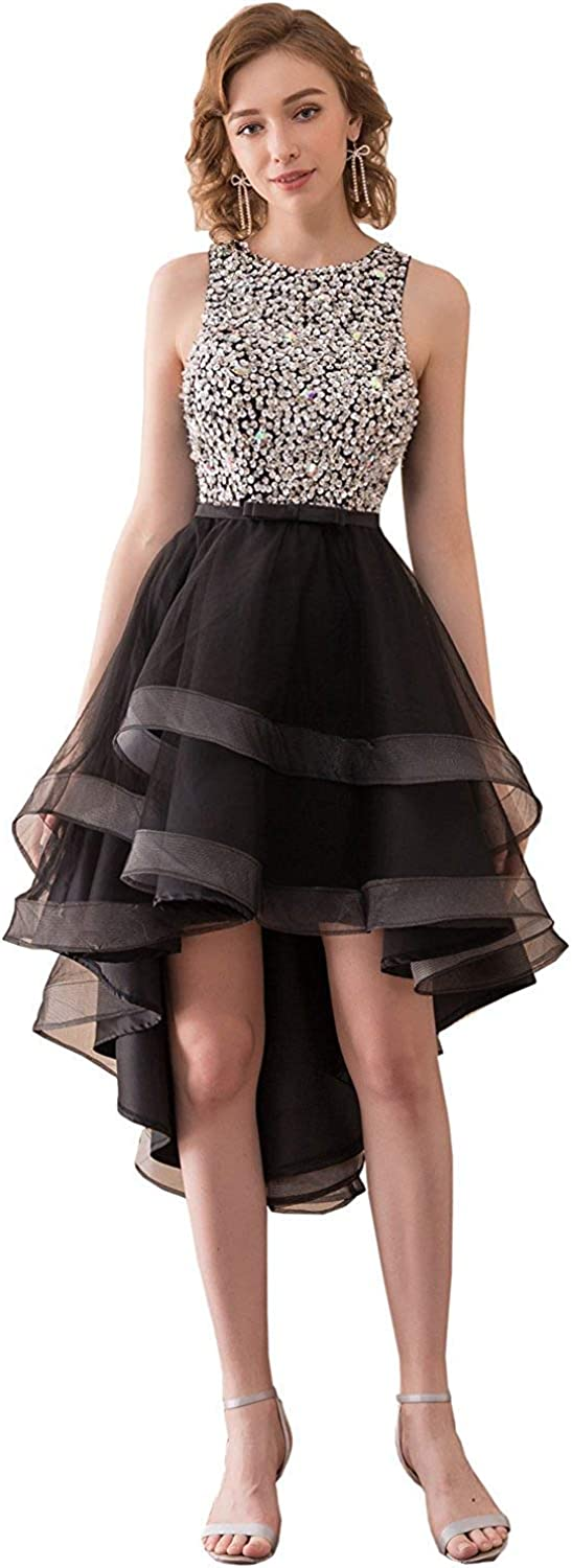 Anmor Women's Hi Low Homecoming Dress Tulle Open Back Sequin Prom Party Gowns Black