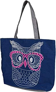 Wultia - Bags for WAMEN 2019 Fashion Fashion Lady Owl Shopping Handbag Shoulder Canvas Bag Tote Purse Bolsa Feminina Blue