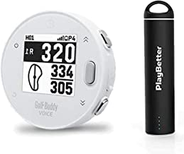 Golf Buddy Voice X with PlayBetter Portable Charger Bundle   Handheld Audio Golf GPS, 38,000 Worldwide Courses, Large Number Display, Bluetooth Updates (White, Power Bundle)