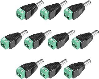 Sourcingmap DC Conector Macho 55 x 21 mm Adaptador de Conector de alimentación de 10 Unidades para Tira de LED CCTV de cámara de Seguridad Extremos de Cable