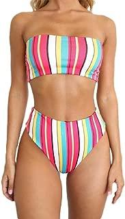 Womens Floral High Cut Bandeau Bikini Set Strapless Two Piece Swimsuit
