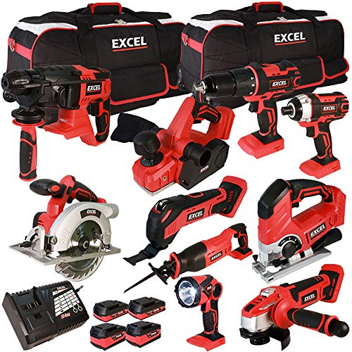Excel 18V Cordless 10 Piece Tool Kit with 4 x Batteries & Smart Charger in Bag EXL5152