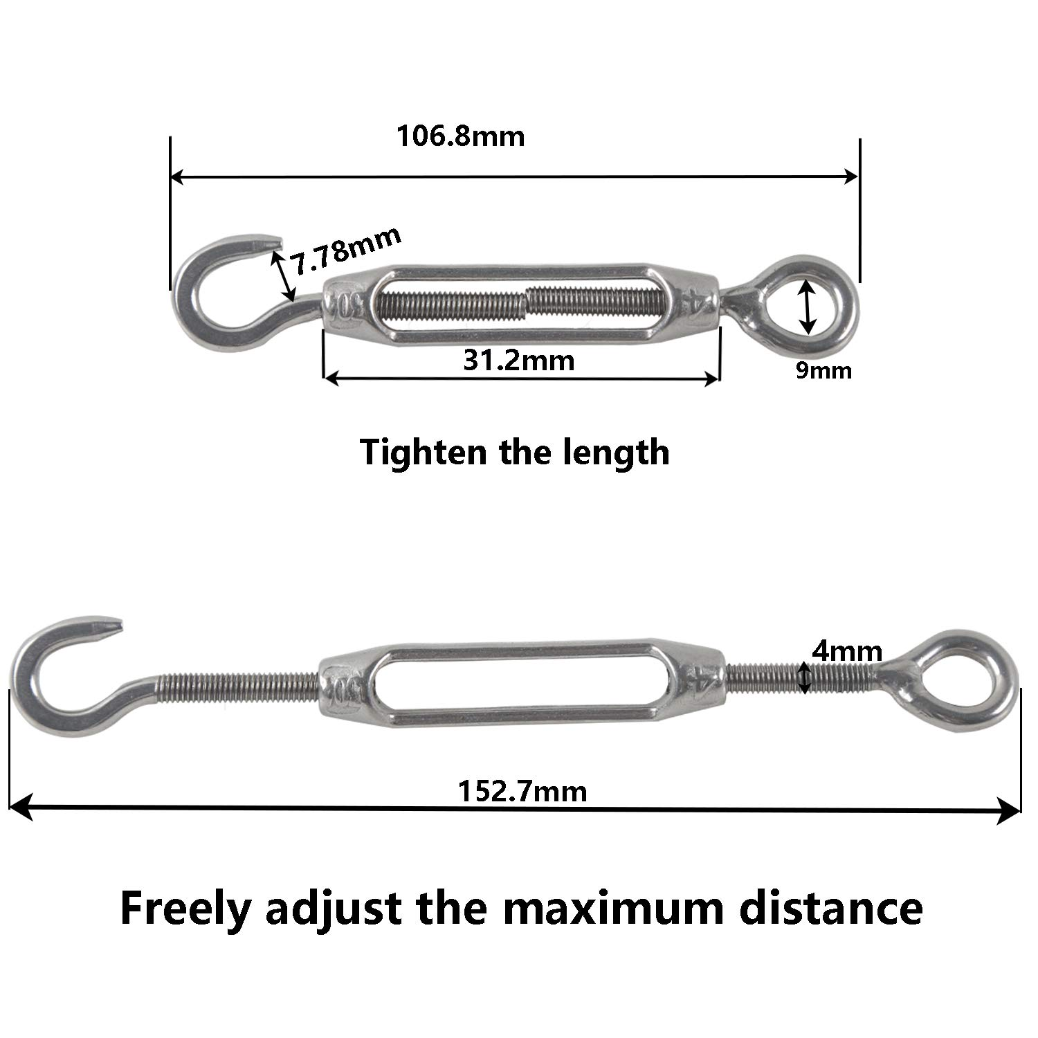 M4 Turnbuckle Wire Tensioner 304 Stainless Steel Adjustable Turnbuckle Hook and Eye Rope Cable Tension for Rope Tightener Garden Wire ClotheslineTensioner Heavy Duty Sun Shade Sail Fixing Kit 6pcs
