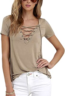 Aiweijia Women Summer Sexy V-Neck Solid Color T-Shirt Cross Tied Top Casual Wear