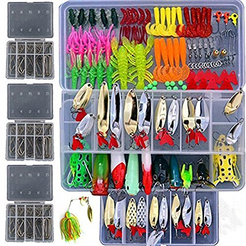 Lyu Bao 279pcs Freshwater Fishing Lures Kit Fishing Tackle Box with Tackle Included Frog Lures Fishing Spoons Saltwater Pencil Bait Grasshopper Lures for Bass Trout Bass Salmon